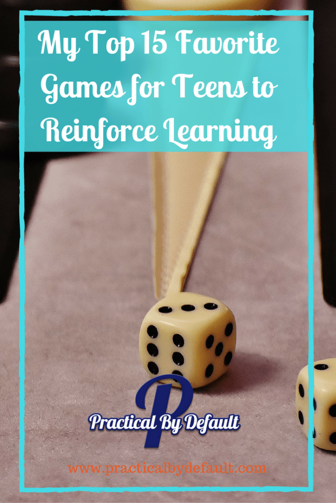 I use games to reinforce learning, have fun on storm days and teach on sick days. Come find out our top 15 board games for teens!
