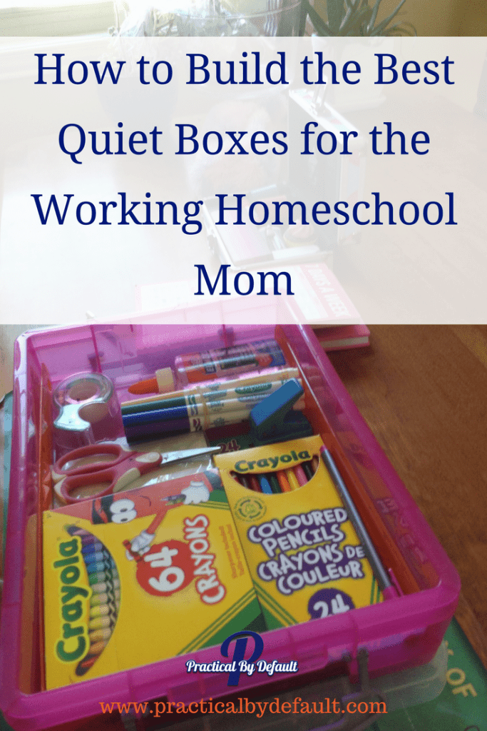 Have you heard of a quiet box? Sharing how to build one for the working homeschool mom for older kids and younger kids.