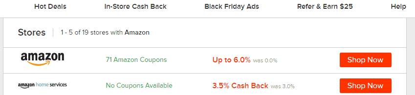 Ebates savings at Amazon