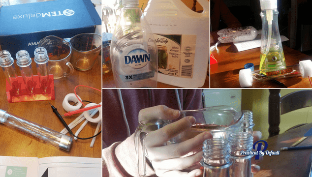Using our STEM Deluxe to test liquids. Adding fun to our homeschool day.