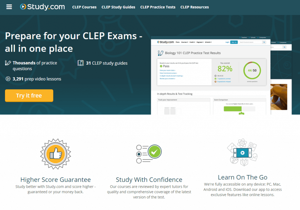 Study.com Homepage shown CLEP Homeschool