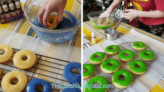 Dip gluten free donuts into the sugar glaze and set to dry