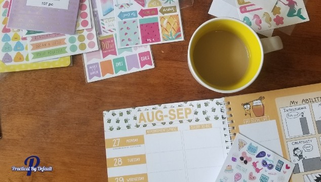 supplies needed coffee, planner, stickers