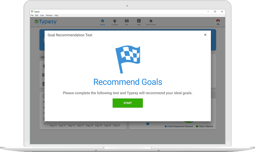 How to set up typing goals in Typesy